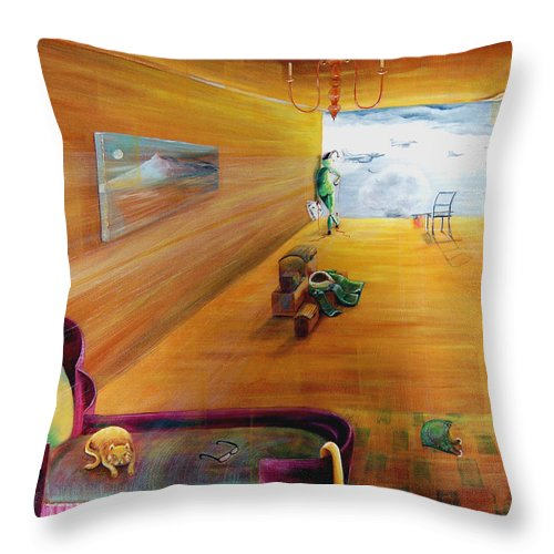 Fantasy Throw Pillow featuring the painting The End Of War by Blima Efraim