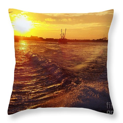 The End To A Fishing Day Throw Pillow featuring the photograph The End To A Fishing Day by John Telfer