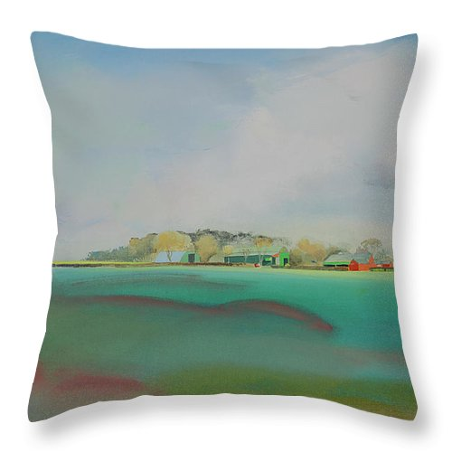 Landscape Throw Pillow featuring the painting The English Farm  A Break In The Cloud by Charles Stuart