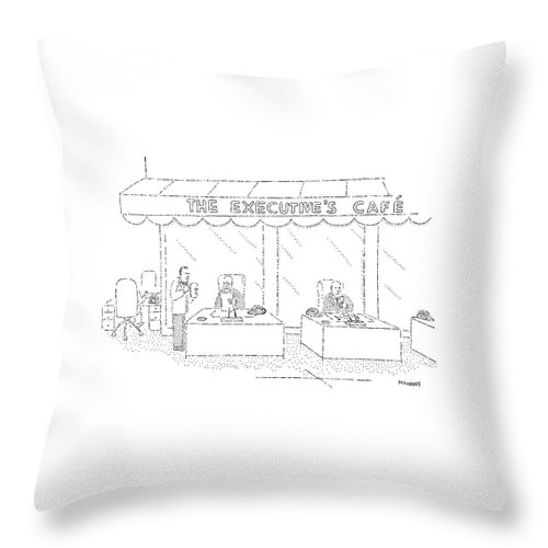 Food Throw Pillow featuring the drawing The Executive's Cafe by Robert Mankoff
