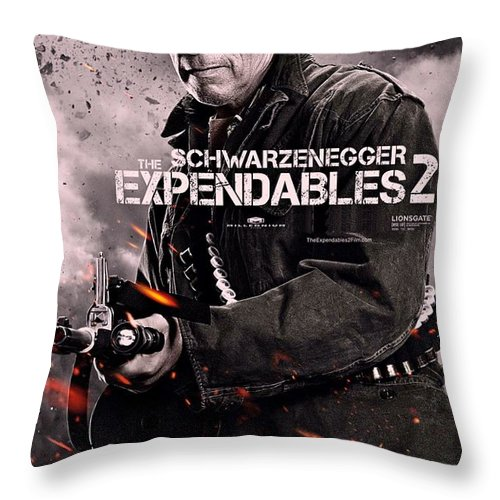 The Expendables 2 Throw Pillow featuring the photograph The Expendables 2 Schwarzenegger by Movie Poster Prints