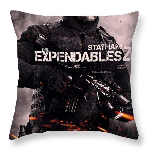 The Expendables 2 Throw Pillow featuring the photograph The Expendables 2 Statham by Movie Poster Prints