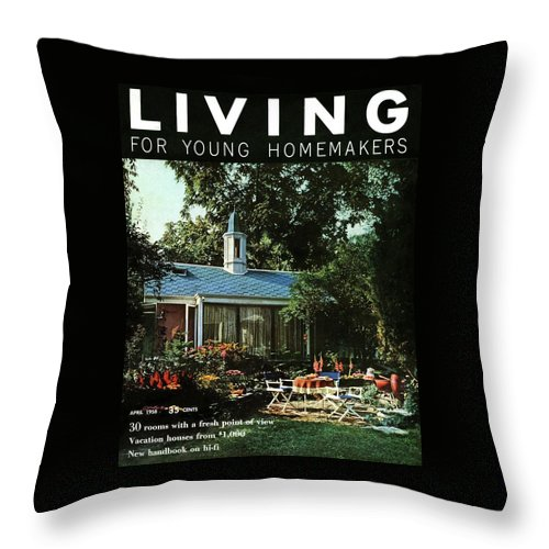 The Exterior Of A House And Patio Furniture Throw Pillow