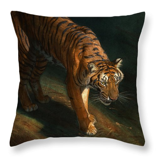 Tiger Throw Pillow featuring the digital art The Eye of the Tiger by Aaron Blaise