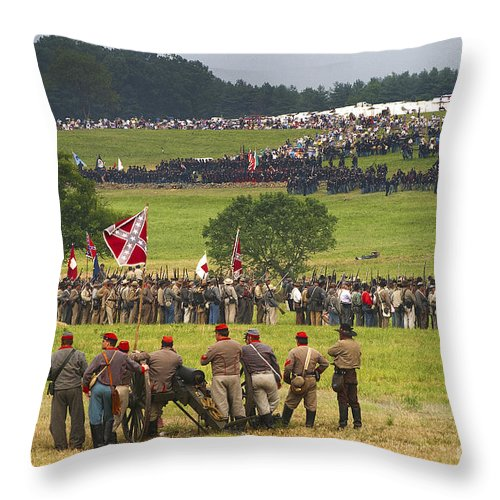 Civil War Throw Pillow featuring the photograph The Face-off by Paul W Faust - Impressions of Light
