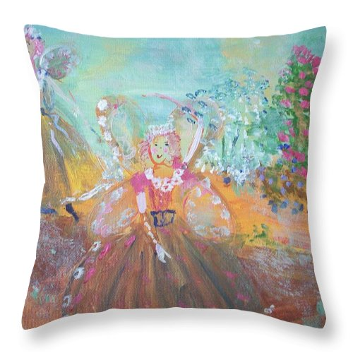 Art Throw Pillow featuring the painting The Fairies And The Artist by Judith Desrosiers