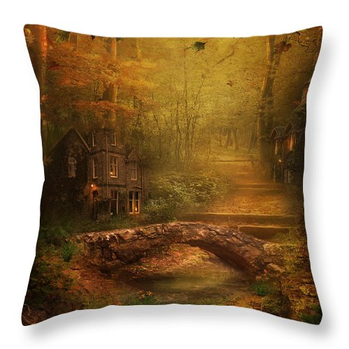 Fairy Throw Pillow featuring the digital art The Fairy Forest In The Fall by Lynn Jackson