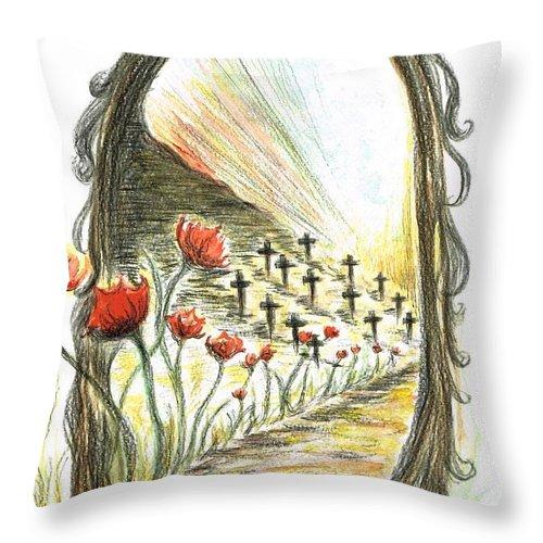 Teresa White Throw Pillow featuring the painting 1st World War- Fallen by Teresa White