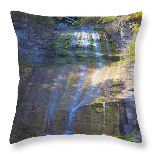Limestone Throw Pillow featuring the photograph The Falls by William Norton