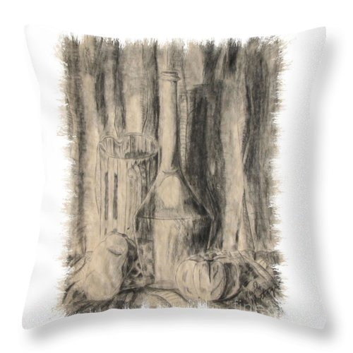 Wine Bottle Throw Pillow featuring the drawing The Family Pose by Kevin Montague