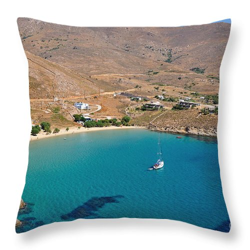 Serifos; Psili Ammos; Beach; Greece; Greek; Hellas; Cyclades; Island; Kyklades; Aegean; Islands; Sand; Sea; People; Tourists; Holidays; Vacation; Travel; Trip; Voyage; Journey; Tourism; Touristic; Summer; Clear Water Throw Pillow featuring the photograph The Famous Psili Ammos Beach by George Atsametakis