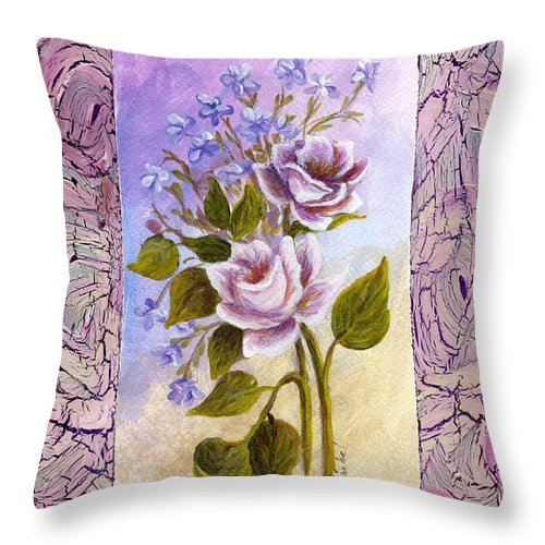 Still Life Throw Pillow featuring the painting The Feminine Touch by Darice Machel McGuire