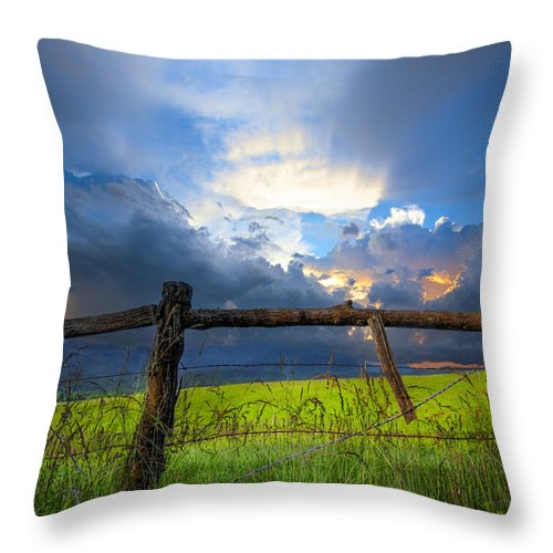 Appalachia Throw Pillow featuring the photograph The Fence At Cades Cove by Debra and Dave Vanderlaan