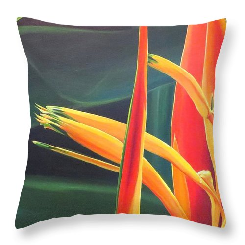 Bird Of Paradise Throw Pillow featuring the painting The Final Flame by Hunter Jay