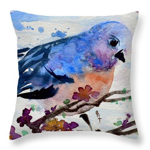Bluebird Throw Pillow featuring the painting The First Bluebird by Beverley Harper Tinsley
