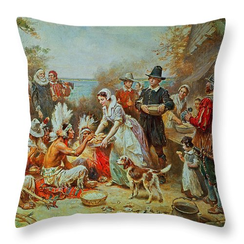 The First Thanksgiving Throw Pillow featuring the painting The First Thanksgiving by Jean Leon Gerome Ferris