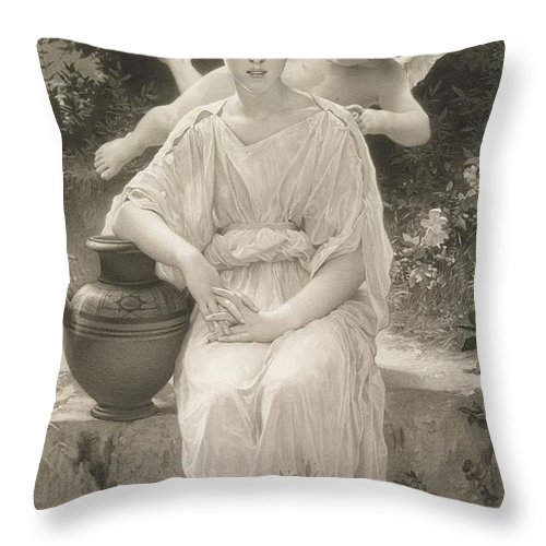 Female; Seated; Love; Cupid; Whisper; Whispering; Flying; Cherub; Vase; Amphora; Outdoors; Beauty; Monochrome; 19th; 20th Throw Pillow featuring the drawing The First Whisper Of Love After Bouguereau by John Douglas Miller