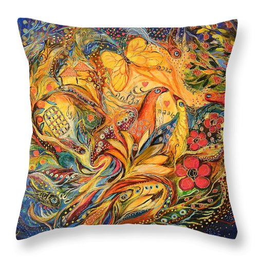 Original Throw Pillow featuring the painting The Fishermen Village by Elena Kotliarker