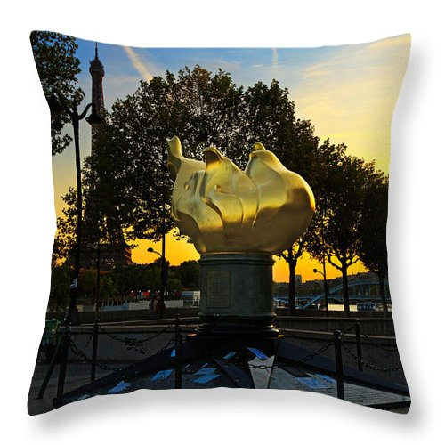 Flame Of Liberty Throw Pillow featuring the photograph The Flame Of Liberty In Paris by Louise Heusinkveld