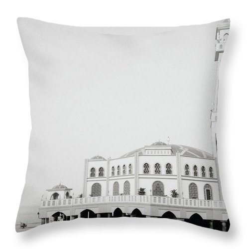 Floating Throw Pillow featuring the photograph The Floating Mosque by Shaun Higson