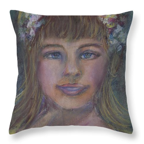 Portrait Throw Pillow featuring the drawing The Flower Girl by Avonelle Kelsey