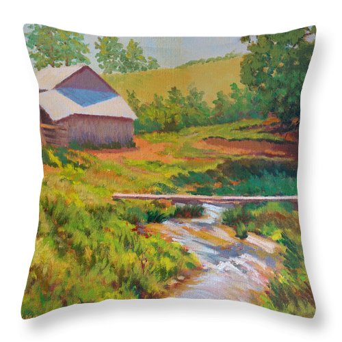 Impressionism Throw Pillow featuring the painting The Foot Bridge by Keith Burgess