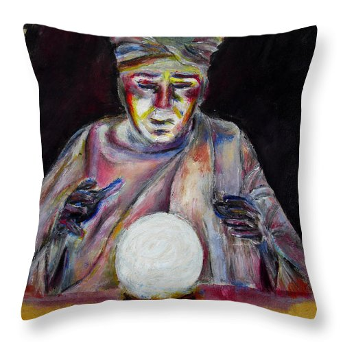 Fortune Tellers Throw Pillow featuring the painting The Fortune Teller by Tom Conway