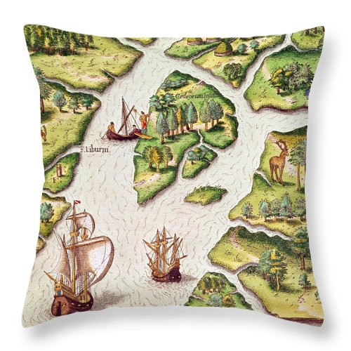 Libourne Island Throw Pillow featuring the painting The French Erect A Column With The Royal Coat Of Arms by Jacques Le Moyne