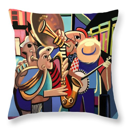 French Quarter Throw Pillow featuring the painting The French Quarter by Anthony Falbo