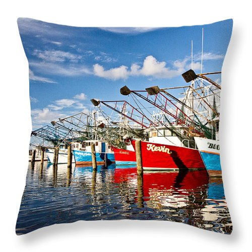 Shrimp Boat Throw Pillow featuring the photograph The Front Line by Scott Pellegrin