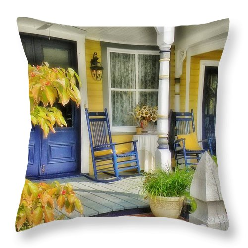 Porch Throw Pillow featuring the photograph The Front Porch 2 by Jean Goodwin Brooks