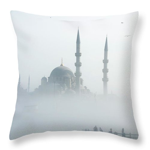 Istanbul Throw Pillow featuring the photograph The Galata Bridge Leads Across Golden by Jazzirt