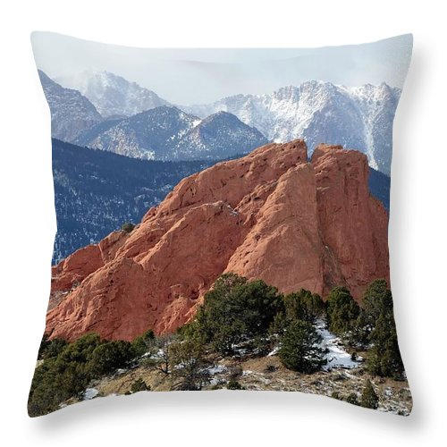 Scenics Throw Pillow featuring the photograph The Garden Of The Gods In Colorado by Rivernorthphotography