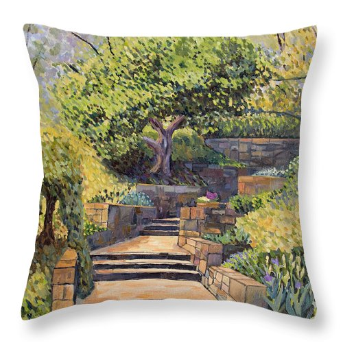 Impressionism Throw Pillow featuring the painting The Garden Stairs by Don Perino