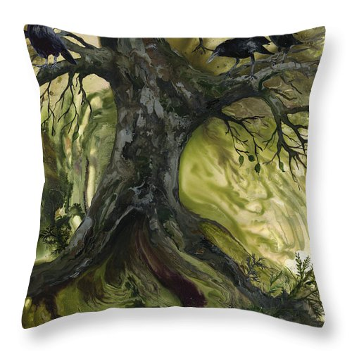 Tree Throw Pillow featuring the painting The Gathering Tree by Sherry Shipley