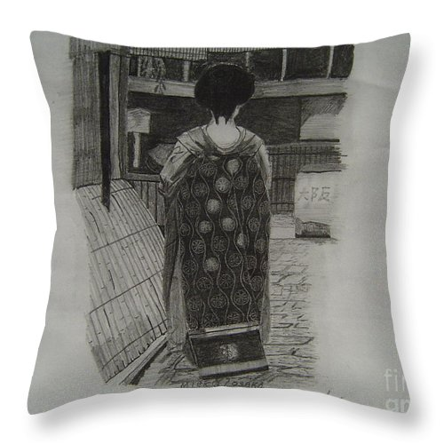 Geisha Throw Pillow featuring the drawing The Geisha by Anthony Dunphy