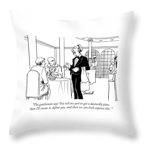 Waiter Throw Pillow featuring the drawing The Gentleman Says 'you Tell Me You've Got by Darrin Bell