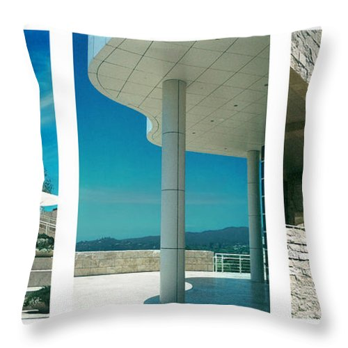 Abstract Throw Pillow featuring the photograph The Getty Triptych by Steve Karol