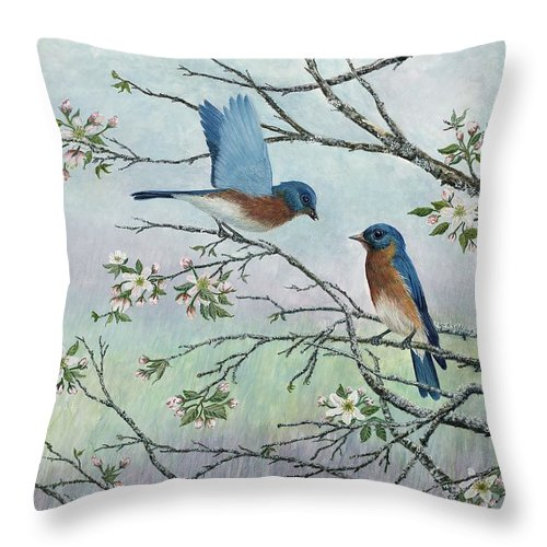 Bluebirds; Trees; Wildlife Throw Pillow featuring the painting The Gift by Ben Kiger