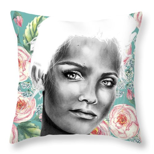 Portrait Throw Pillow featuring the drawing The Girl From Ipanema by Shaylene Reynolds