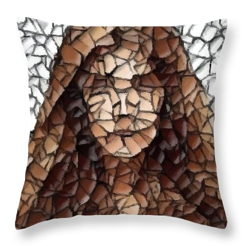 Pretty Girl Throw Pillow featuring the digital art The Girl With No Face by Chris Butler