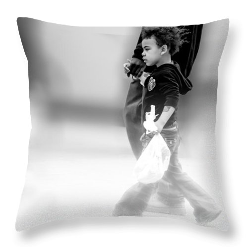 Street Photography Throw Pillow featuring the photograph The Girl With The Tatoo by Bob Orsillo