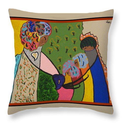 Landscape Throw Pillow featuring the painting The Givers by Clarissa Burton