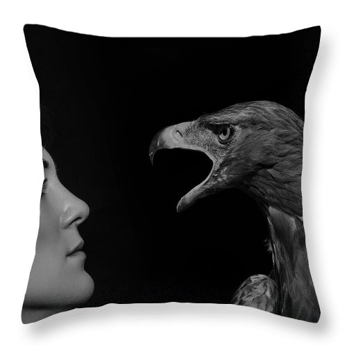 Girl Throw Pillow featuring the photograph The Glance by Igor Zeiger