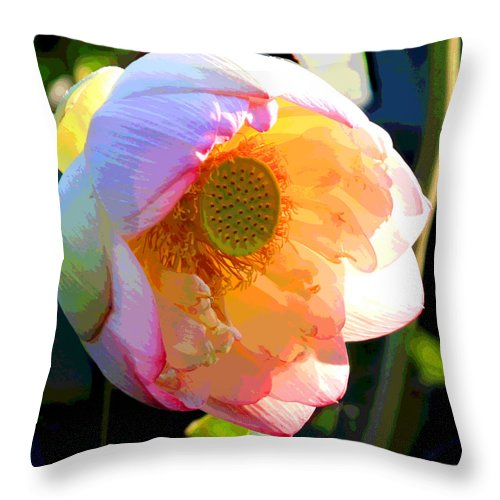 Lotus Throw Pillow featuring the painting The Glow of the Lotus by John Lautermilch