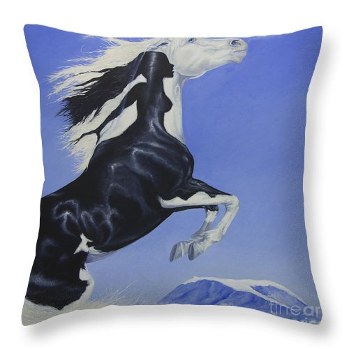 Paint Throw Pillow featuring the painting The Goddess Within by Louise Green