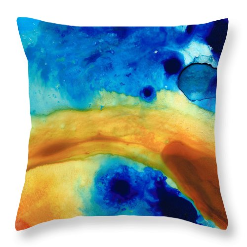 Abstract Throw Pillow featuring the painting The Golden Gate - Abstract Art By Sharon Cummings by Sharon Cummings