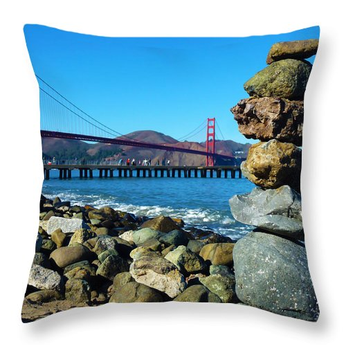 Photography Throw Pillow featuring the photograph The Golden Gate Rock Pile by Fabien White