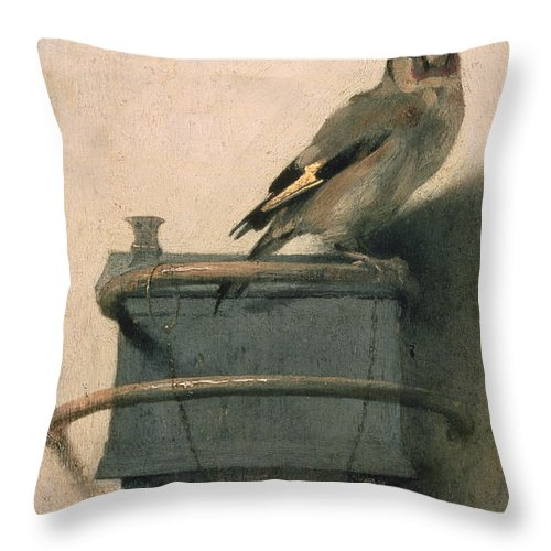 Bird Throw Pillow featuring the painting The Goldfinch by Carel Fabritius