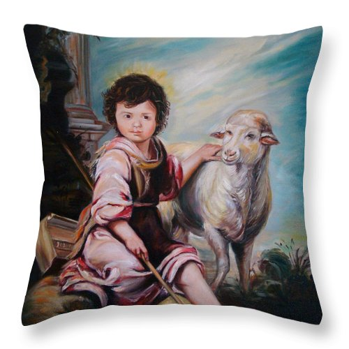 Classic Art Throw Pillow featuring the painting The Good Shepherd by Silvana Abel